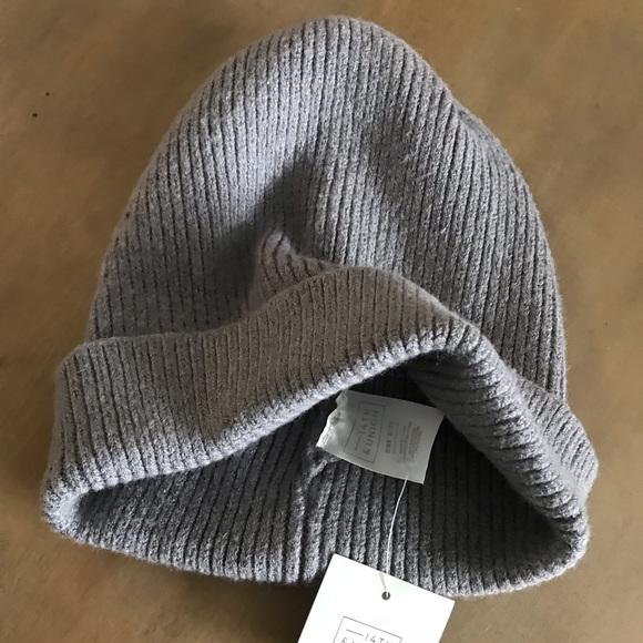 c93b17bad88d9 Basic knit rubbed cuff beanie grey